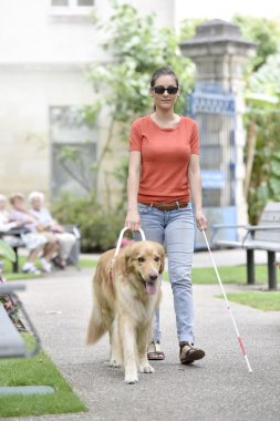 woman walking in park with dog