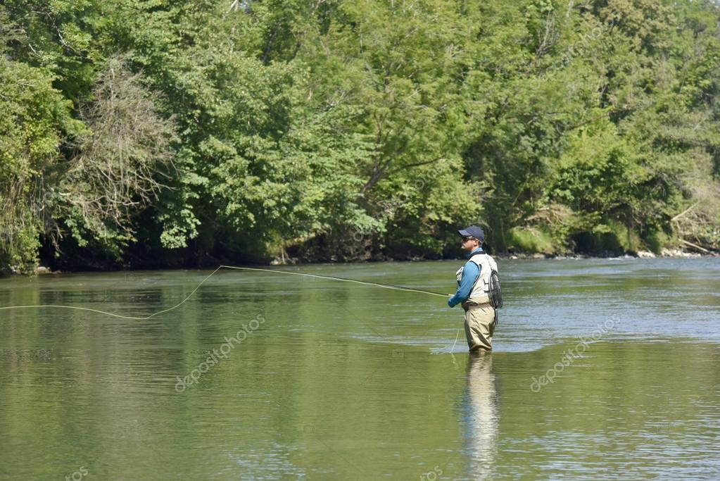 Flyfisherman fishing in river