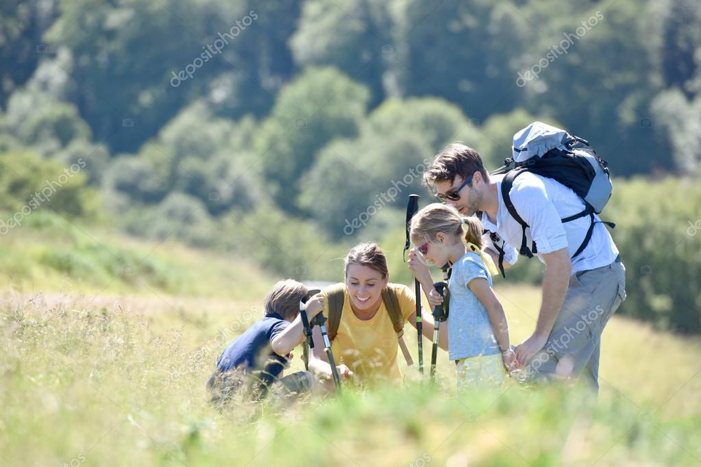 Family  looking at vegetation