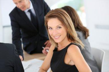 Businesswoman attending meeting