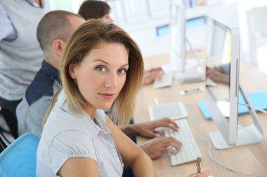Businesswoman attending training course