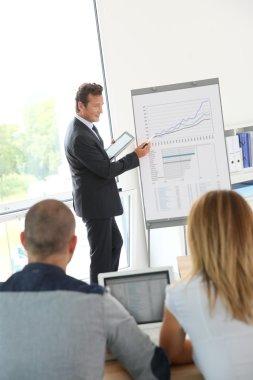 Business people attending weekly presentation
