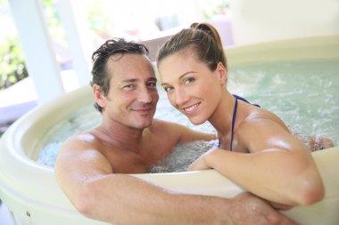 Romantic couple in tub