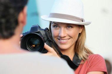 Photographer guiding model