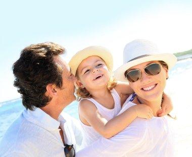 Cheerful family at beach
