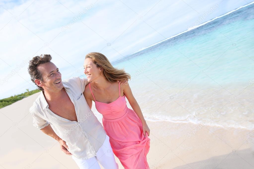 Couple on Caribbean beach