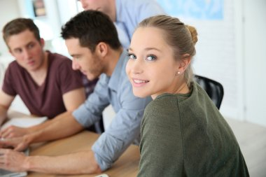 People at business training