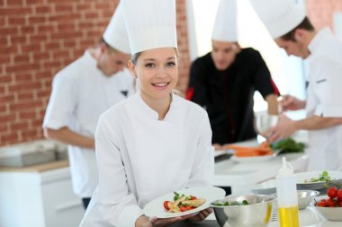 Girl at cooking training course