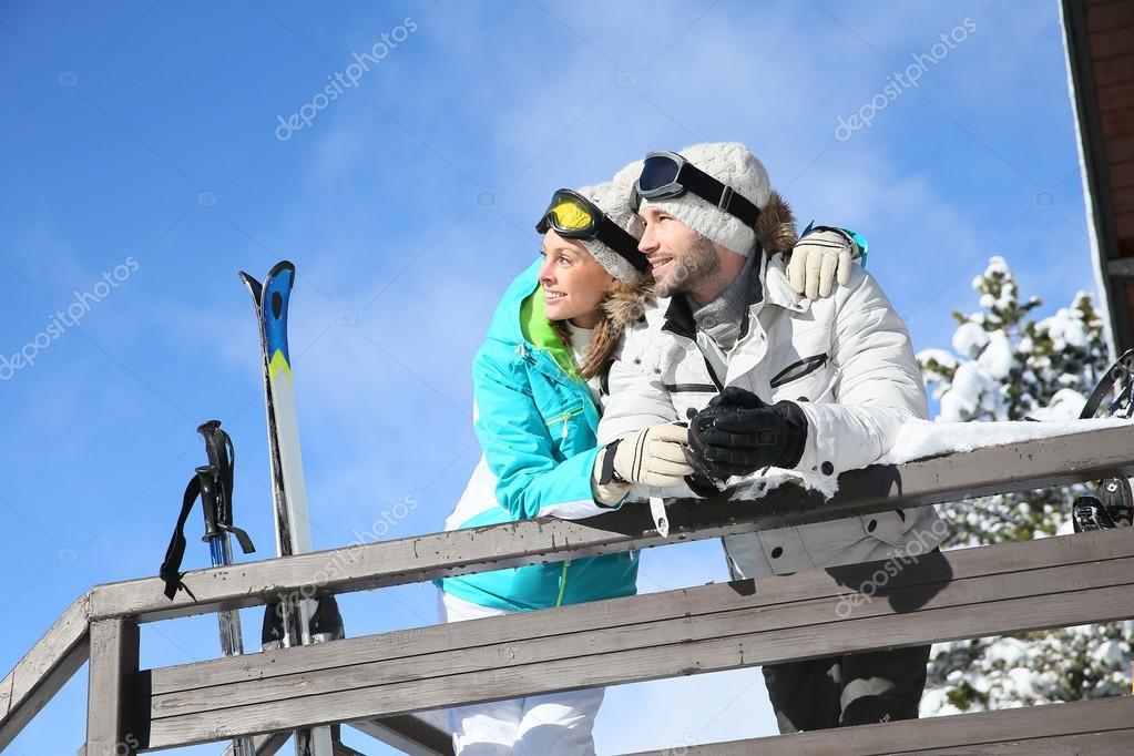 Skiers admiring panorama