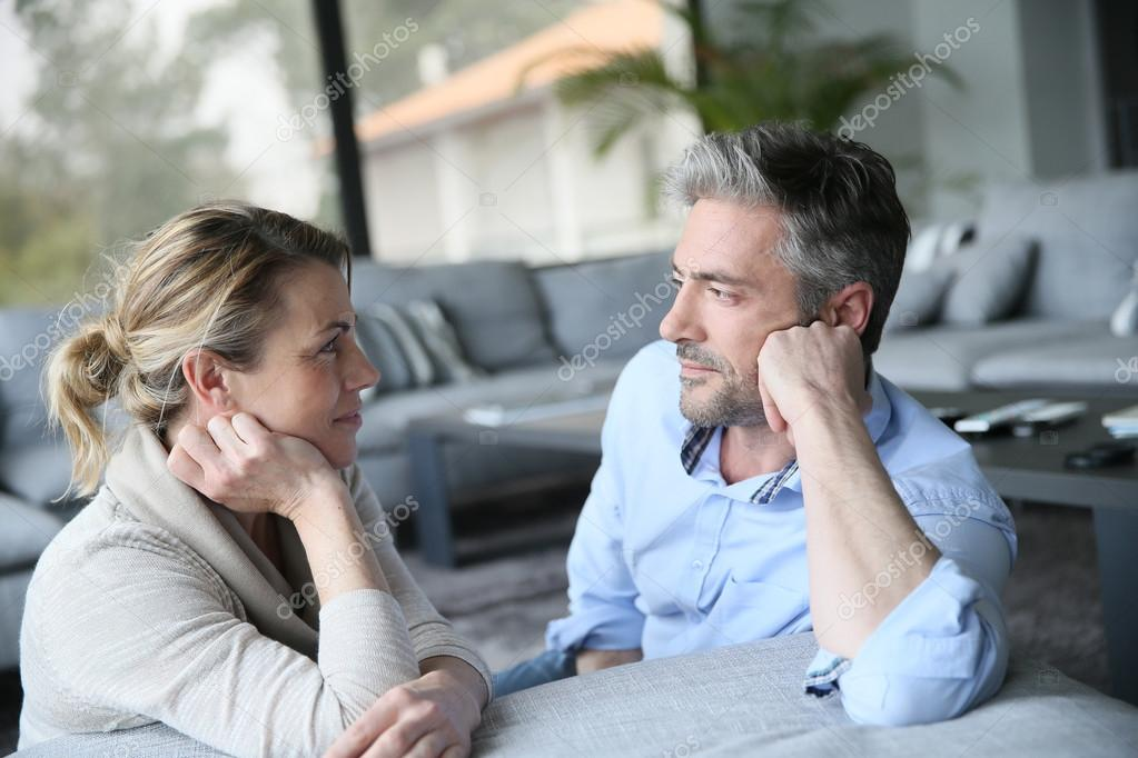 Mature couple talking