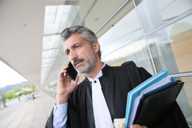 Lawyer talking on phone