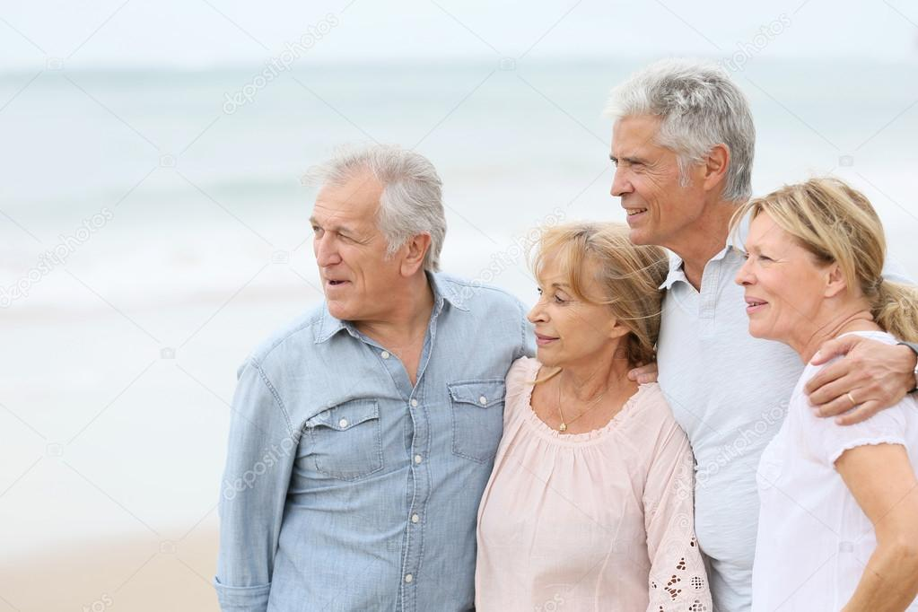 senior people on  the beach