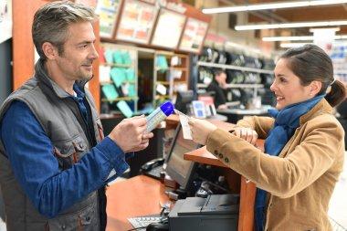 Customer buying product