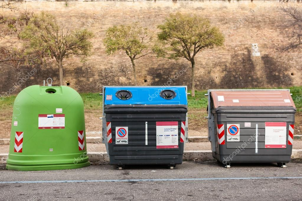 group of sorted recycling bins stock photo