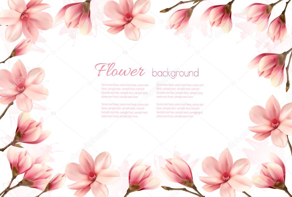 Flower background with a border of pink magnolia blossoms. Vecto