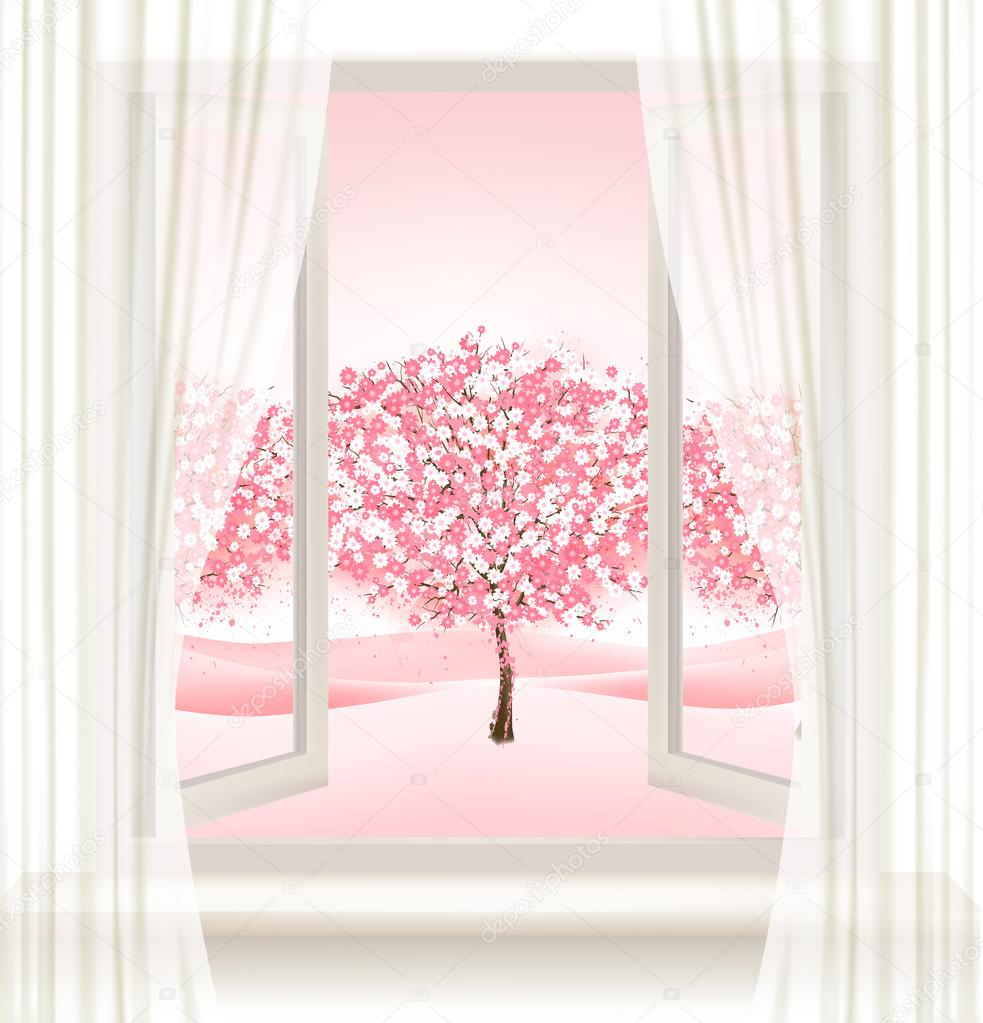 Pink cherry blossom tree view from a window. Vector.