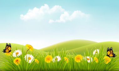 Summer nature background with grass and flowers and butterflies.