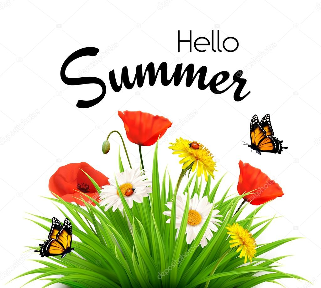 Happy summer holidays background with flowers and butterflies. V