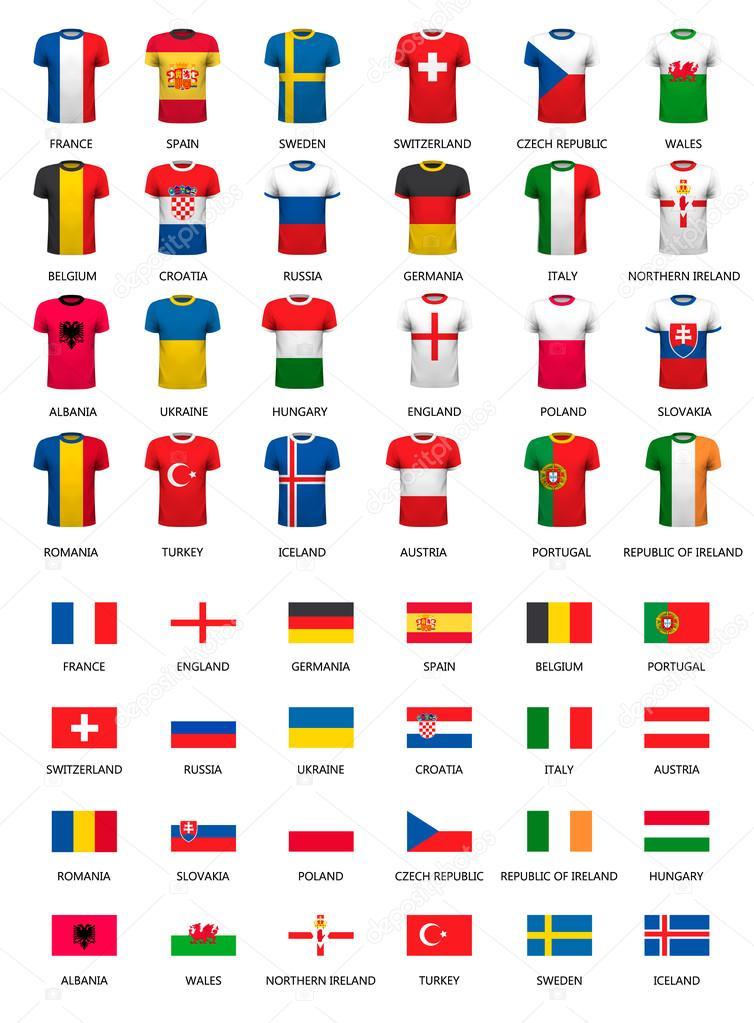 b05260d71152 Συλλογή των διαφόρων μπλούζες ποδοσφαίρου και τις σημαίες των χωρών. Ve —  Διανυσματικό Αρχείο