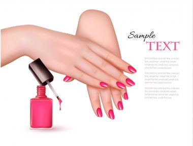 Manicured hands and a nail polish bottle. Vector.