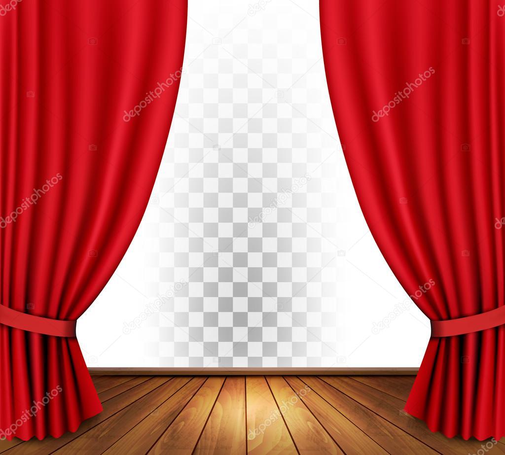 Theater gordijnen met een transparante achtergrond. Vector ...