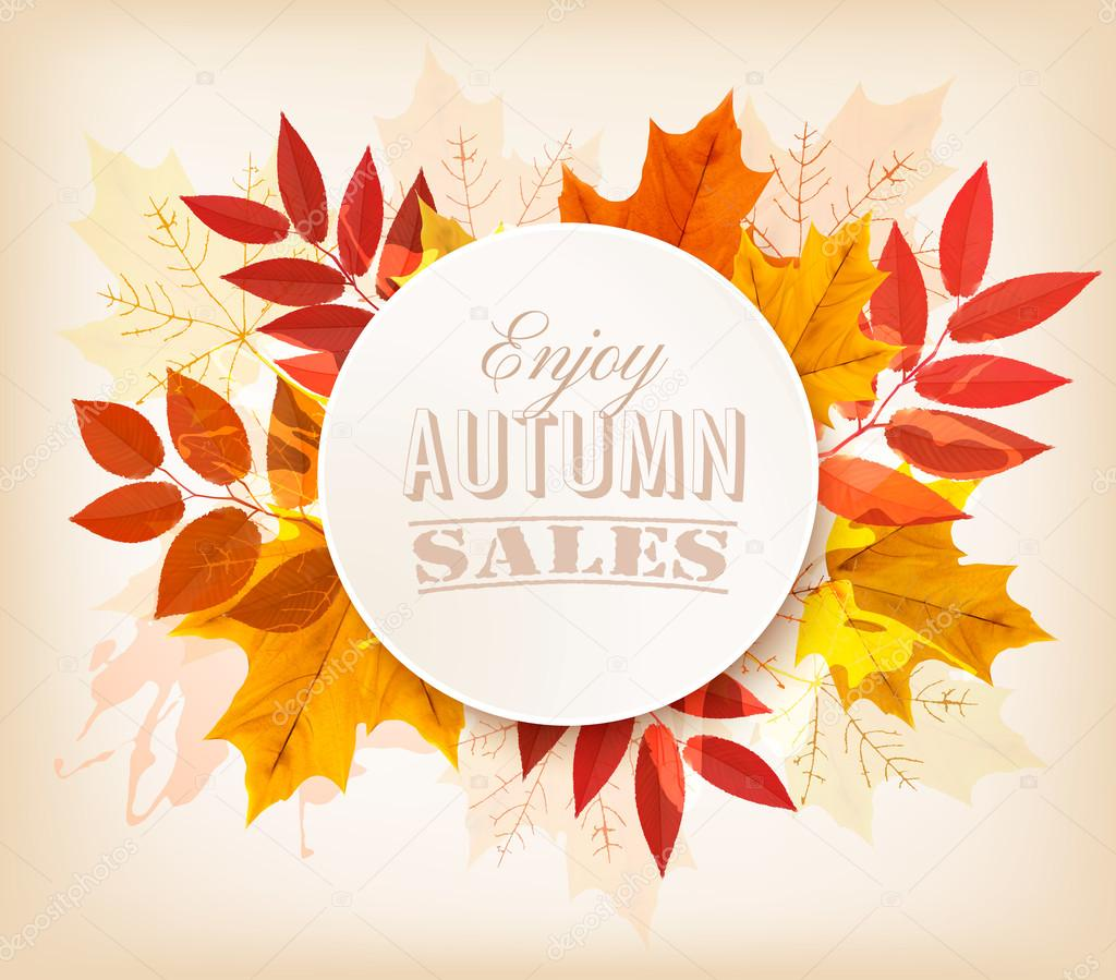 Autumn sales banner. Vector.