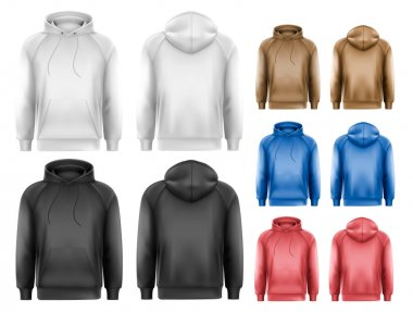 Set of black and white and colorful male hoodies with sample tex