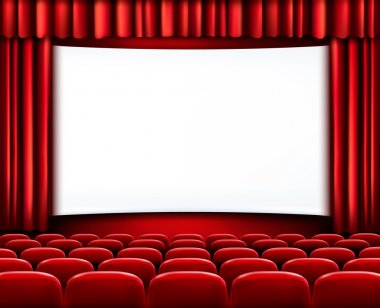 Rows of red cinema or theater seats in front of white blank screen. Vector. stock vector