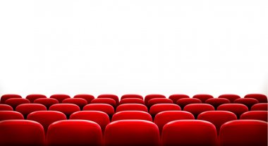 Rows of red cinema or theater seats in front of white blank screen with sample text space. Vector. stock vector
