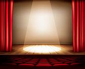 divadelní jeviště s červeným závěsem, sedadla a reflektor. vecto