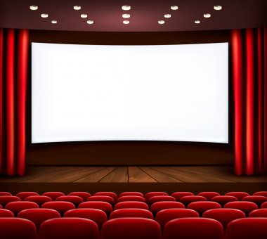 Cinema with white screen, curtain and seats. Vector. stock vector