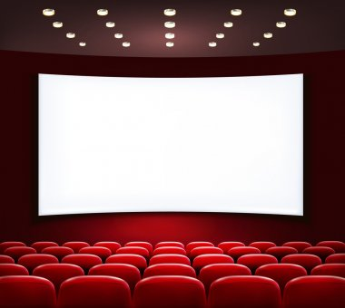 Cinema with white screen and seats. Vector. stock vector
