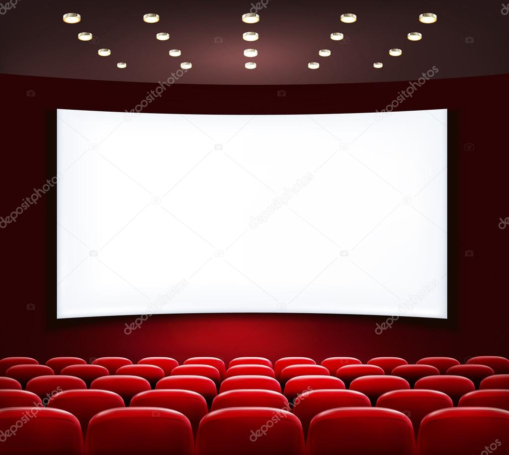 Cinema with white screen and seats  Vector  — Stock Vector © almoond