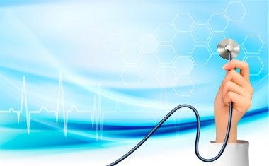 Background with hand holding a stethoscope. Vector