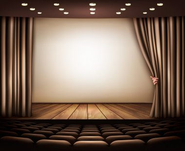 Cinema with white screen, curtain and seats. Vector.