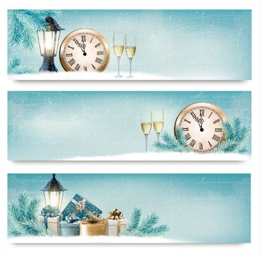 Three Christmas, New Year banners with gift boxes, lanterns and champagne. Vector. stock vector