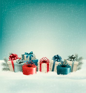 Christmas gift boxes in snow. Vector.