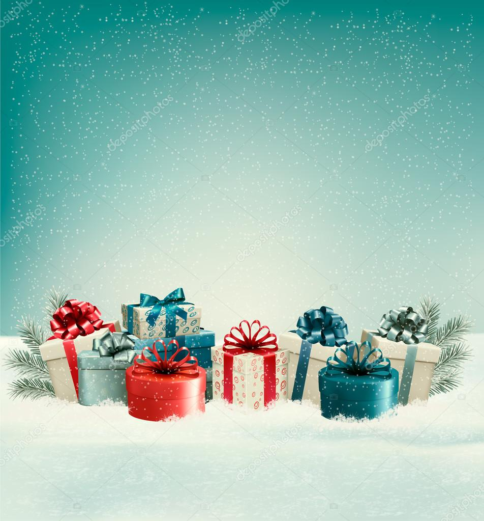 Christmas gift boxes in snow vector stock vector almoond christmas gift boxes in snow vector vector by almoond negle Image collections