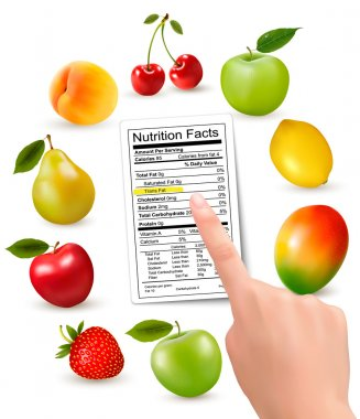 Fresh fruit with a nutrition facts label and hand. Vector