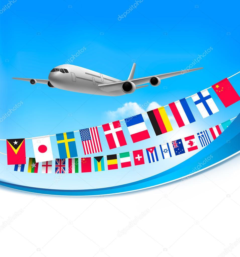 Avi n viaje fondo con banderas de diferentes pa ses vector de stock almoond 67946495 - Banera de viaje ...