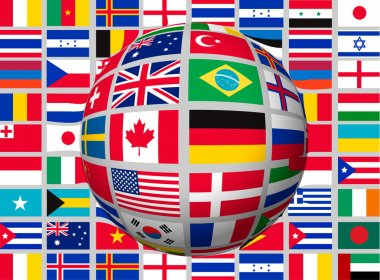 Globe on a background with flags of the world. Vector.