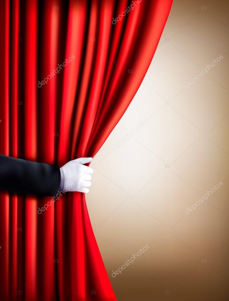 Hand in een witte handschoen gordijn weg te trekken. Theater. Vector ...