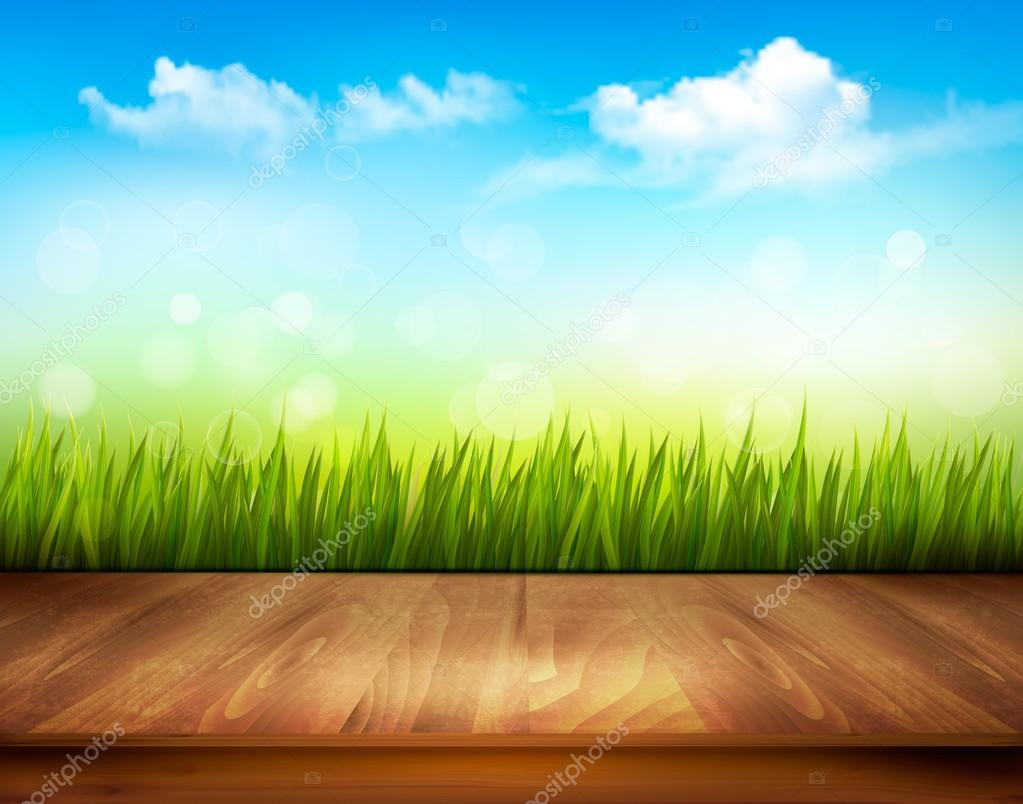 Wooden deck in front of green grass and blue sky background.