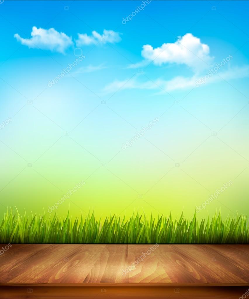 Wooden deck in front of green grass and blue sky background. Vec