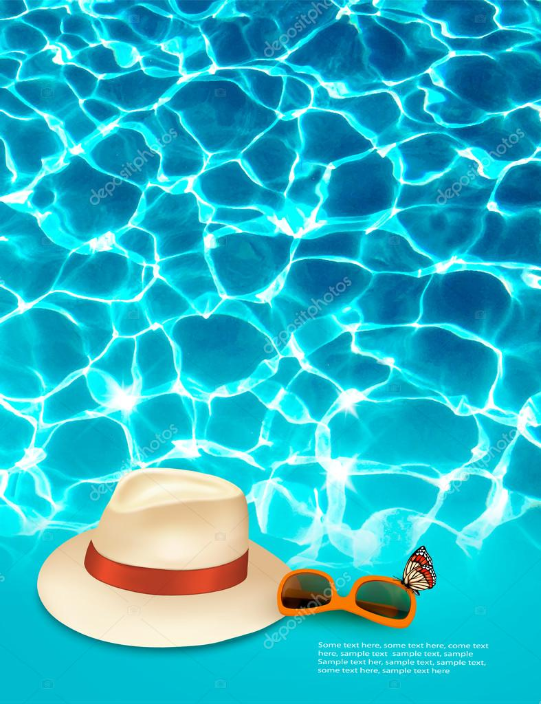 Vacation background with blue sea, a hat and sunglasses. Vector.