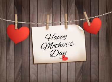 Retro holiday mother day background with red paper hearts on woo