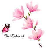 Přírodní pozadí s větví květy růžové květy a másla
