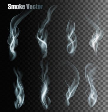 Set Of Transparent Different Smoke Vectors.