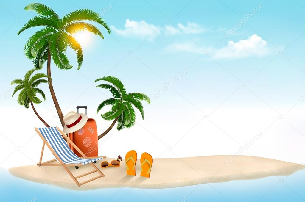 Tropical island with palms, a beach chair and a suitcase. Vacati