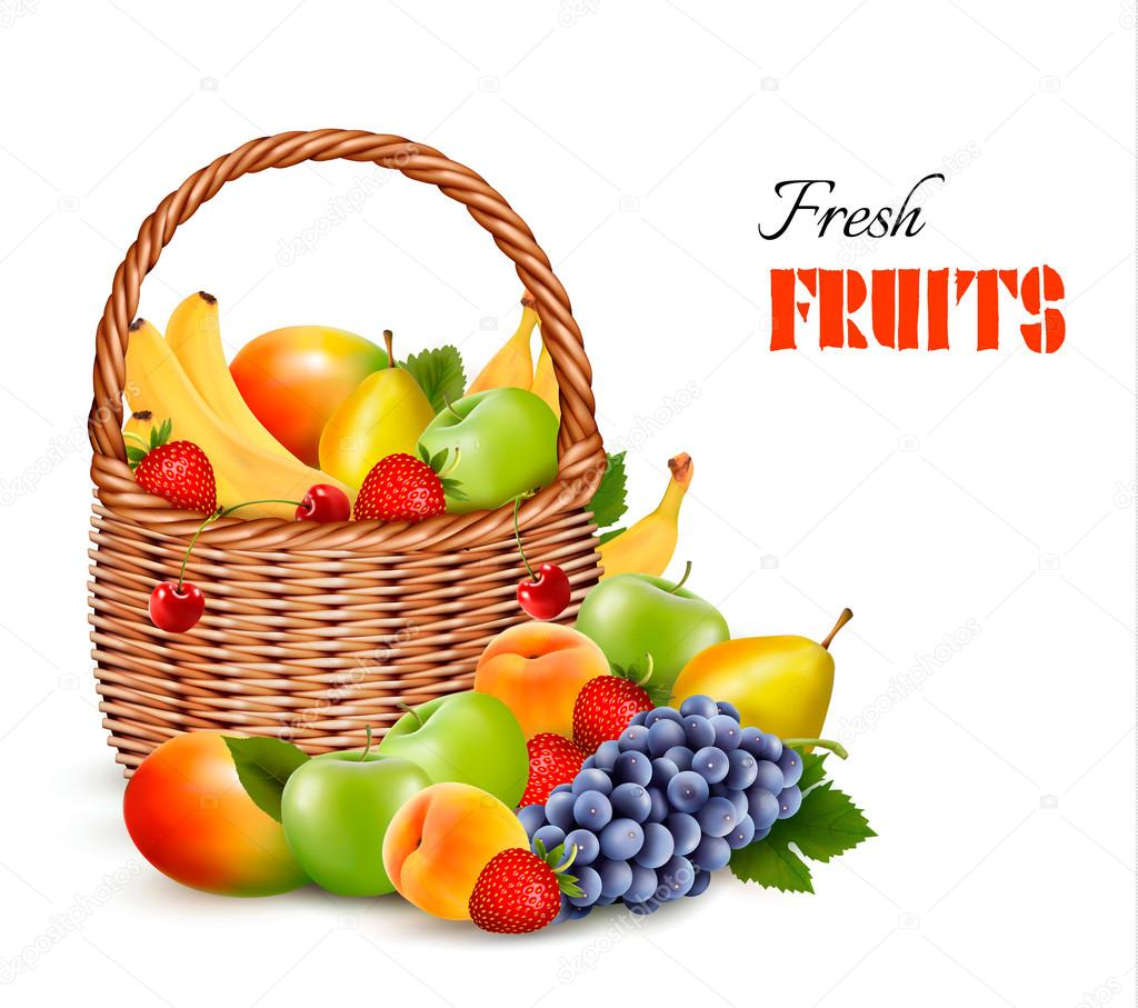 Fresh color fruit in basket. Concept of diet. Vector illustratio